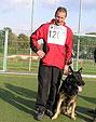 Dietmar Fluck mit Carlo vom Hohentwiel bei der Bundessiegerprüfung 2009 in Baunatal *